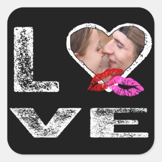 AMOR con besos - plantilla de la foto Pegatina Cuadrada