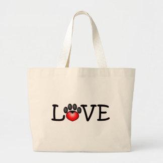 Amor con el corazón en la impresión de la pata bolsa