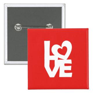 Amor con el corazón pin cuadrado