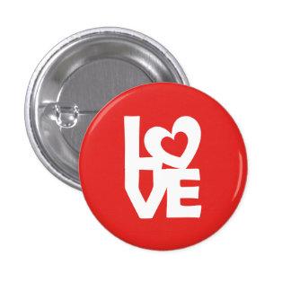 Amor con el corazón pin redondo de 1 pulgada
