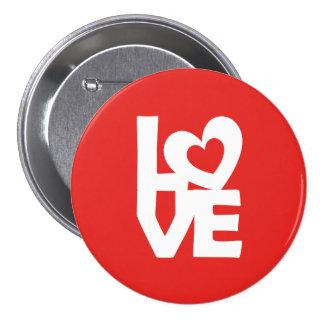 Amor con el corazón pin redondo de 3 pulgadas