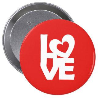 Amor con el corazón pin redondo de 4 pulgadas