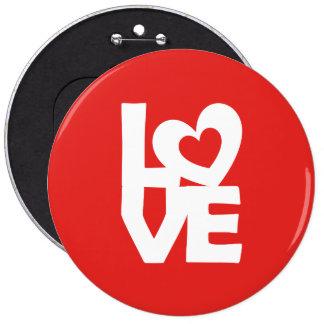 Amor con el corazón pin redondo de 6 pulgadas