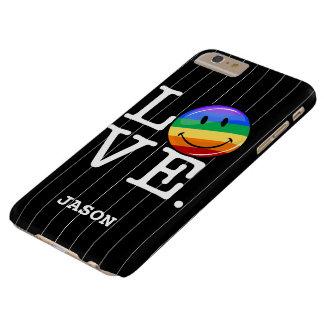 Amor con un gay feliz LGBT de la bandera del arco Funda De iPhone 6 Plus Barely There