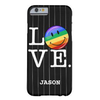 Amor con un gay feliz LGBT de la bandera del arco Funda Para iPhone 6 Barely There
