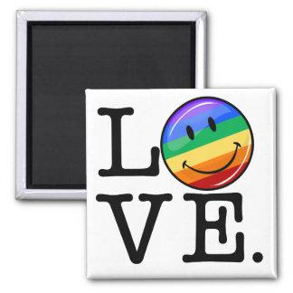 Amor con un gay feliz LGBT de la bandera del arco Imán Cuadrado