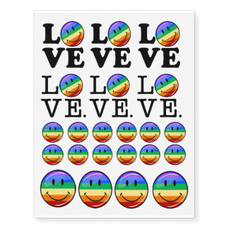 Amor con un gay feliz LGBT de la bandera del arco Tatuajes Temporales