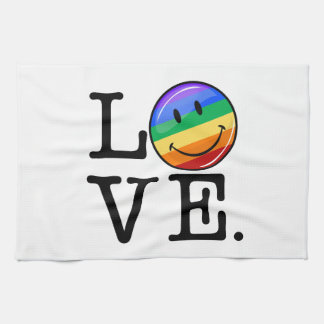Amor con un gay feliz LGBT de la bandera del arco Toallas De Mano