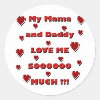 Amor copy.png de la mamá y del papá pegatina redonda