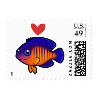 Amor coralino de la belleza sellos postales