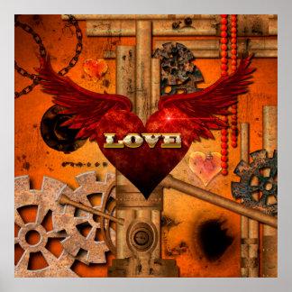 Amor, corazón con las alas póster
