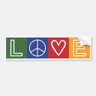 AMOR - corazón y signo de la paz Etiqueta De Parachoque