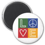 AMOR - corazón y signo de la paz Imán De Nevera