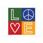 AMOR - corazón y signo de la paz Postales