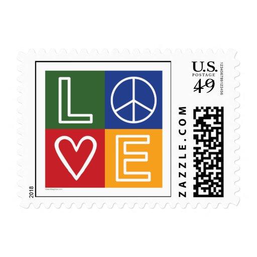 AMOR - corazón y signo de la paz Sellos