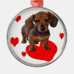 Amor (corazones) Dachsies - Dachshund Ornamento De Navidad