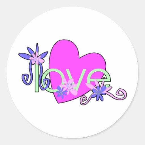 Amor, corazones y tarjetas del día de San Valentín Etiquetas Redondas