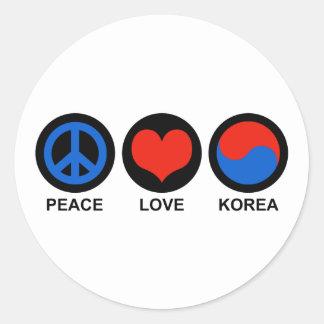 Amor Corea de la paz Pegatina Redonda