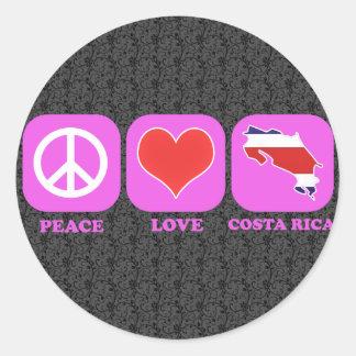Amor Costa Rica de la paz Pegatina Redonda