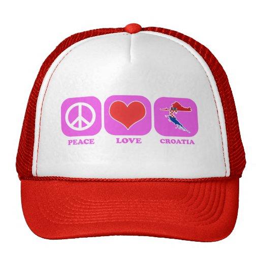 Amor Croacia de la paz Gorro