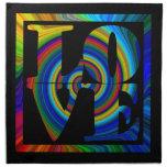 amor cuadrado espiral enmarcado colorburst servilleta