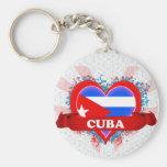 Amor Cuba del vintage I Llavero Redondo Tipo Pin