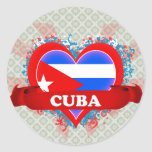 Amor Cuba del vintage I Pegatina Redonda