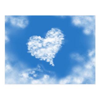 Amor curativo del cielo en forma de corazón azul p tarjeta postal