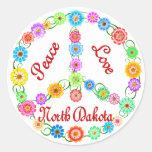 Amor Dakota del Norte de la paz Pegatina Redonda