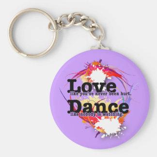 Amor, danza, viva llavero redondo tipo pin