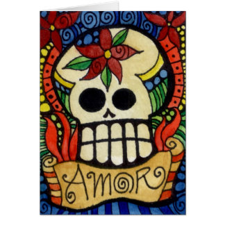 Amor Day of the Dead Sugar Skull Stationery Note Card