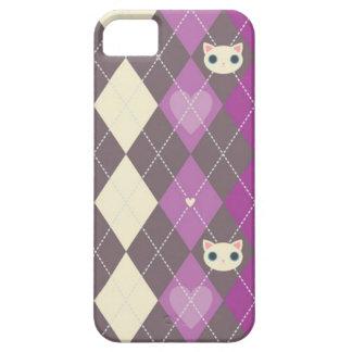 Amor de Argyle del gato iPhone 5 Funda