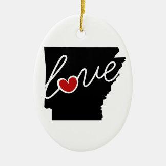 ¡Amor de Arkansas!  Regalos para los amantes de AK Adorno Navideño Ovalado De Cerámica