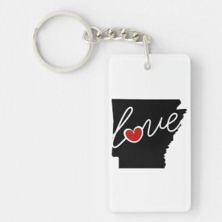 ¡Amor de Arkansas!  Regalos para los amantes de AK Llavero Rectangular Acrílico A Doble Cara