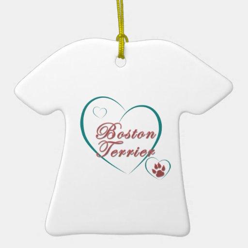Amor de Boston Terrier Adorno De Cerámica En Forma De Playera