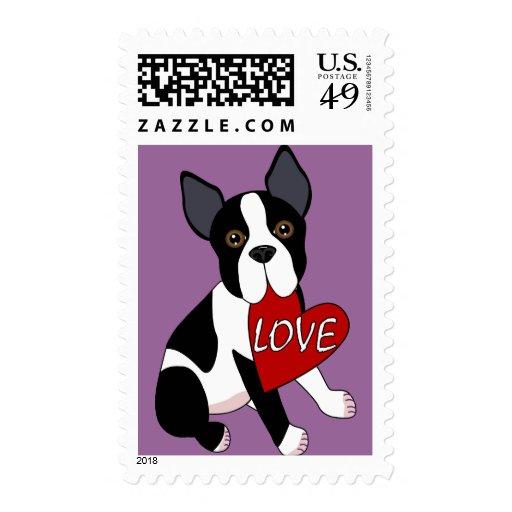 Amor de Boston Terrier Estampilla