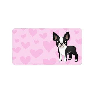 Amor de Boston Terrier Etiquetas De Dirección