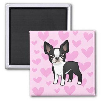 Amor de Boston Terrier Imán Cuadrado
