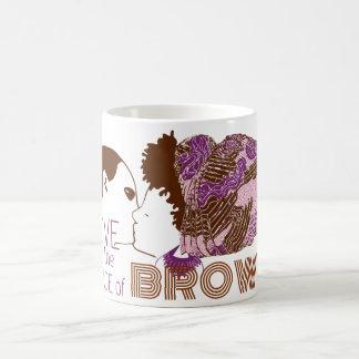 AMOR de BROWN en PÚRPURA y ROSA Tazas De Café