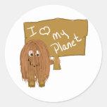Amor de Brown mi planeta Pegatinas Redondas
