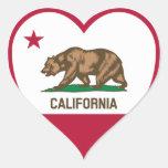 Amor de California - corazón de la bandera de Cali Pegatina De Corazon