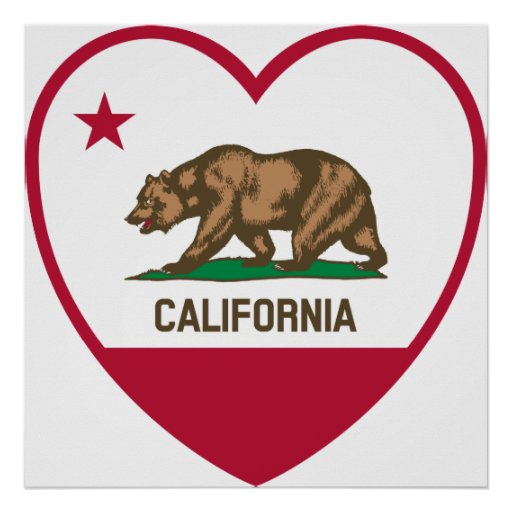 Amor de California - corazón de la bandera de Cali Póster