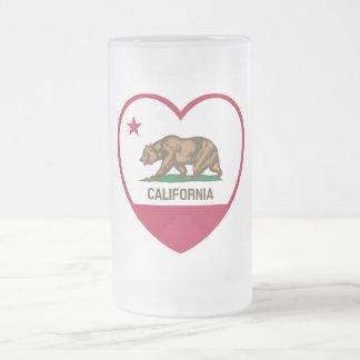 Amor de California - corazón de la bandera de Taza De Cristal