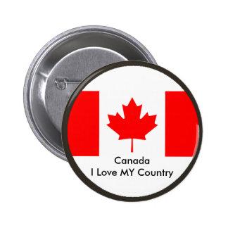 Amor de Canadá I MI plantilla de CA de la bandera  Pin Redondo 5 Cm