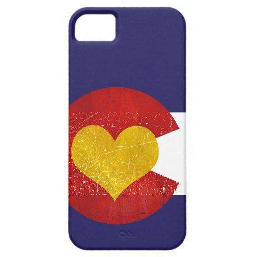 Amor de Denver del Grunge del corazón de la bander iPhone 5 Case-Mate Coberturas