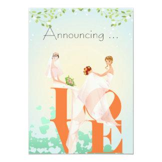 AMOR de dos novias que casa Annoucement Invitación 12,7 X 17,8 Cm