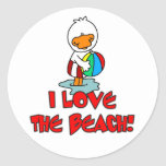 Amor de Duckie la playa Etiquetas Redondas