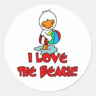 Amor de Duckie la playa Pegatina Redonda