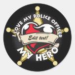 Amor de encargo mi oficial de policía pegatina redonda