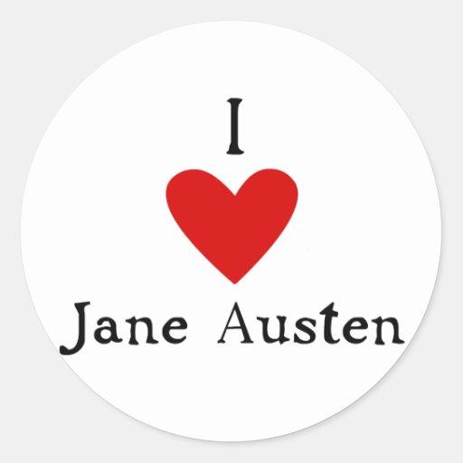 Amor de Jane Austen Pegatina Redonda